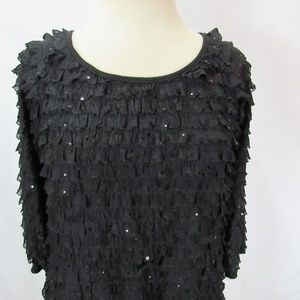 Brittany Black Tops - Brittany Black Ruffle Tiered Sparkle Top Blouse